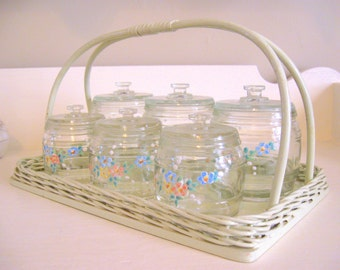 Kruger Germany 1940's Hand Painted Flowers Baby Nursery Dresser Tray & Jar Set - Precious -