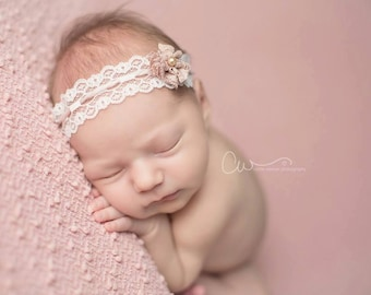 Abilene - Tie Back Open Halo Headband Wrap - Cream Ivory White Pink Tan - Lace Bow Pearl - Newborn Baby Girl Infant Adults - Photo Prop