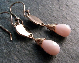 Pink Blush Earrings - Pink Opal Earrings - Natural Pink Opal and Bronze - Modern Romance Collection - Pink and Gold Dangle Earrings