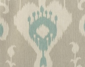 IKAT DINNER NAPKINS-- taupe or blue and natural Ikat Cotton Home Decor Coffee Cafe Size Latte