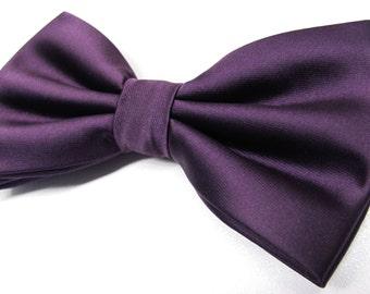 Mens Bowtie. Purple Bowties. Eggplant Purple Bowtie With Matching Pocket Square Option