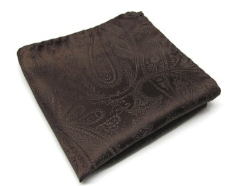 Pocket Square Chocolate Brown Paisley Hankie