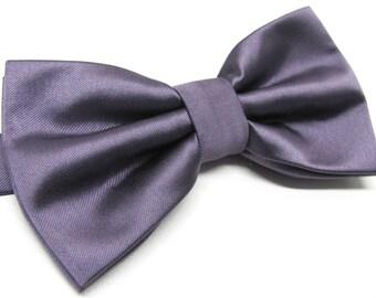 Mens Bowtie. Mauve Dusty Portobello Purple Bowtie With Matching Pocket Square Option