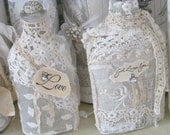 LOVE Valentine Altered Bottle Vintage Lace
