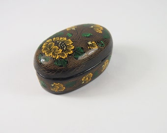 Vintage 80s Lacquered Wood Dresser Small Ring Box Dish