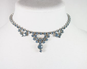 Blue Rhinestone Silver Tone Choker Necklace Vintage 50s Jewelry