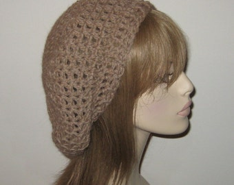 Alpaca Slouchy Beret Dread Tam Winter Hat in Camel Heather