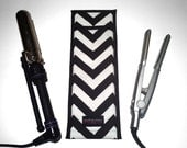 Flat Iron Case/Curling Iron Travel Cover, Chevron, Black/White - In Stock Ready To Ship