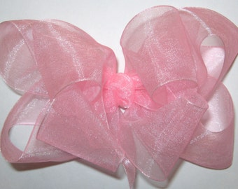Large Double Layer Loopy Style Organza Hair Bow in Pink