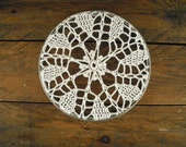 lace doily in vintage metal hoop ~ framed doily ~ home decor