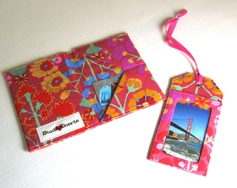 Travel Set Passport and ID wallet case with coordinating luggage tag made to order
