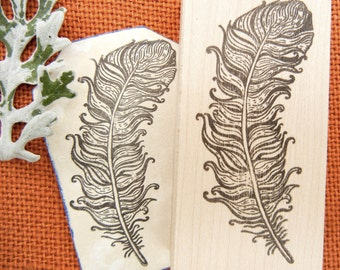 NEW Feather Rubber Stamp - Handmade by BlossomStamps