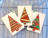 Christmas Card Set #3: Christmas Tree Card, Merry Christmas, Xmas, Holiday Card Sets, Seasons Greetings, Notecard, Red, Little Bird de Papel