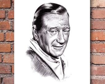 "John Wayne ""The Duke"" Signed Pencil Art Print by Artist DJ Rogers"