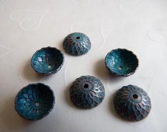 10 Pieces of Acorn Bead Caps in Aqua Copper Patina Color -- 13 mm