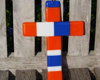 Wall Cross Fused Glass UF Florida Colors - Blue and Orange - Christian Gift - Gators