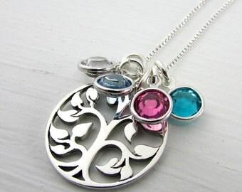 Birthstone Necklace | Family Tree Charm Necklace | Sterling Silver (925) Tree of Life Pendant | Swarovski Birthstone Crystals E Ria Designs