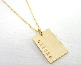 Gold Dog Tag Necklace - Personalized Name Charm - Hand Stamped - Custom - E. Ria Designs
