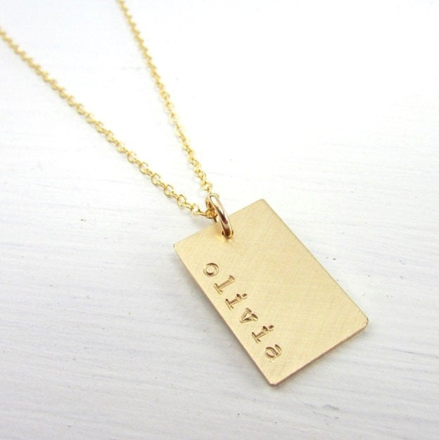 Gold Dog Tag Necklace Personalized Name Charm Hand Stamped