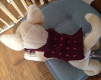 Small Marron Dog Sweater- Pet Clothes- Yorkie Apparel- Puppy Sweater-Chihuahua-Tiny Dog-CLEARANCE