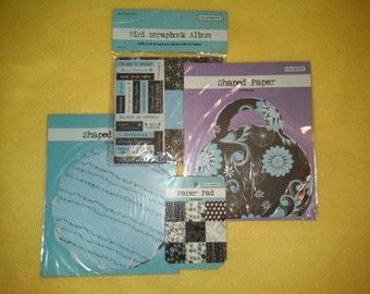 Mini Scrapbook Album, stickers, diecuts, tags - light blue