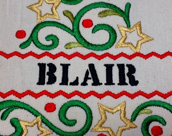 Holiday Christmas Tree Decorative Personalized, Ready to Frame or Finish as a Pillow