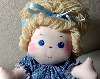 Fabric Doll Samantha Doll with Blond Hair Blue Eyes - 13 inches tall