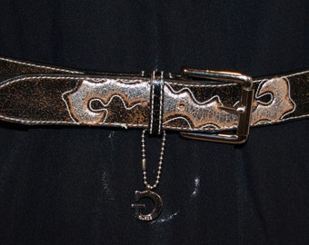 Guess Leather Belt Brown Black Silver Hang Tag