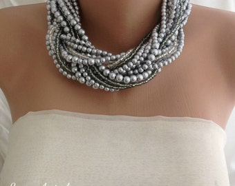 Bridal Silver Pearl Jewelry , Multistrand Pearl brides necklaces,Christmas Gift for her