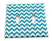 Double Light Switch Cover Wall Decor Switchplate Switch Plate in Turquoise Chevron  (229D)