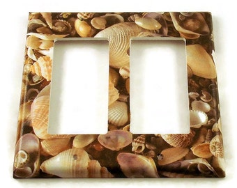 Double Rocker Light Switch Cover  Wall Decor Switchplate Switch Plate in  SeaShell (248DR)