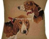 Beagle Heads Woven Tapestry Cushion Cover Sham