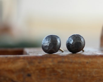 Black sterling silver studs earrings, black studs, Eco friendly earrings,  small studs organic earrings