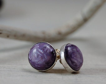 Purple Charoite stud Earrings Sterling Silver Posts Earrings 10mm