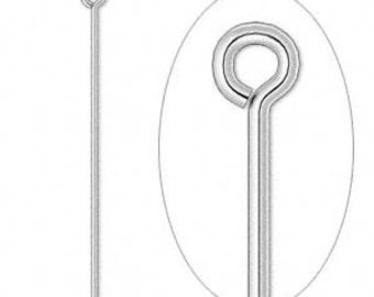 50 Silver-plated  Eyepins, 21 gauge, 3 1/2 inch
