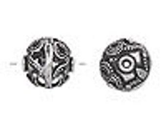 One 14mm round Antiqued Filigree Silver-plated Bead.