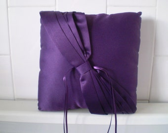 Eggplant PURPLE Satin  Ring bearer Pillow With Small Custom floral accent of your choice