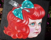 on hold- Ariel ORIGINAL MINI PAINTING Little Ariel Pocket Full of Posiez