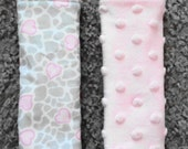 Baby Car Seat Strap Covers, Reversible Car Seat Strap Covers,Gray Giraffe print with pink hearts and pink minky