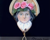 Saint Therese of Lisieux Sculpted Polymer Clay Necklace, Pendant Patron of Youth Little Flower Rose Catholic French Nun Icon Natalie Ewert
