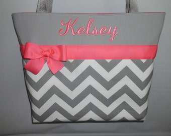 CHEVRON  in Gray .. .. Vibrant PINK Accents  ...   Tote  Bag ... Monogrammed  FReE