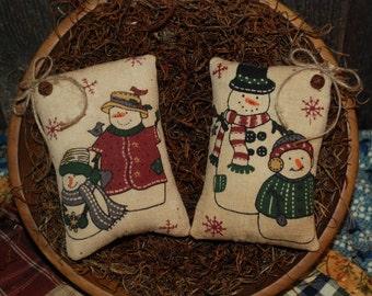 Primitive Christmas Pillow Tucks Snowmen Bowl Fillers Ornies