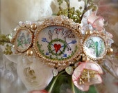 Lilygrace Napoleonic Love Birds Watercolour Paintings Headband with Vintage Glass Pearls, Glass Leaves and Rhinestones