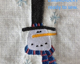 Snowman Embroidery on White Cotton Fabric - Free Shipping to USA