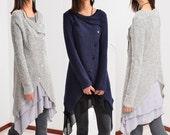Moon Snow - light knit jacket cardigan and tunic dress set (Q1503)