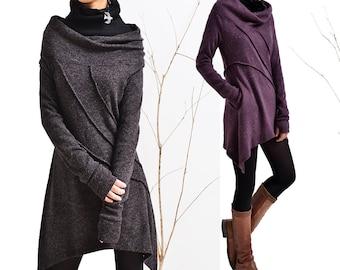 Dream - cowl collar woolen tunic dress and cotton top set (Q5115)