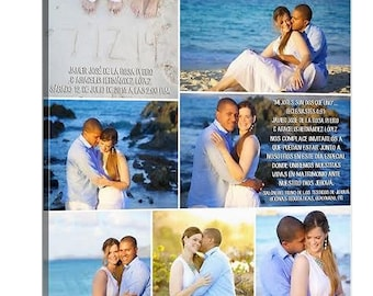Storyboard Wedding Photo Collage with quotes, words  Personalized Canvas with Text Large Wall Art 24X24 nches