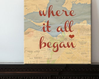 Romantic Holiday Gifts Map Art Personalized Best Friend Gift Romantic Map with Quote Art Customized with Places and Names