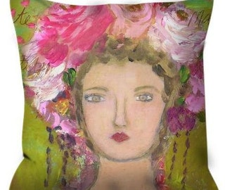 Decorative throw pillow lady with roses in her hair pink green gold yellow