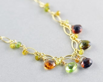 Tourmaline Drop Necklace, Gemstone Necklace, October Birthstone, Fall Autumn Jewelry